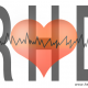 What is rheumatic heart disease: vector image of the cardiogram diagram with rhd letters on white background.