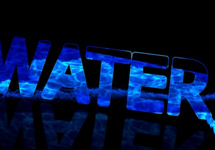 The benefits of drinking filtered water - vector image with water word in blue color on black background.
