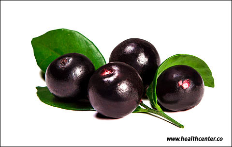 Acai fruit on white background.