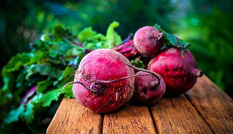 Bunch of beetroot on the bench.