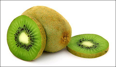 Fresh kiwifruit on white background.