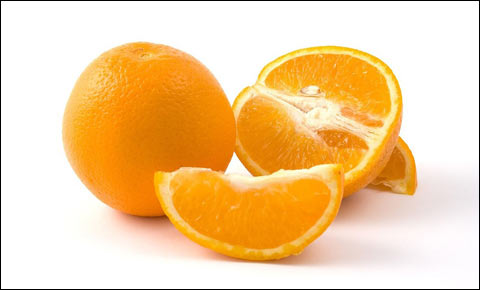 Fresh oranges on white background.
