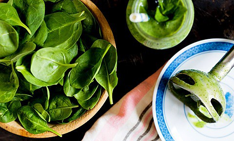 Fresh spinach in the bowl